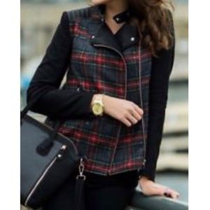 Zara Jacket Tartan Plaid Faux Leather Combination